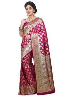 Banarasi Silk Saree in Fuchsia