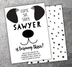 Printable Black and White Puppy Dog Birthday Invitation | Modern Puppy Paw-ty | Kids 1st Birthday Party | Thank You Card | Cupcake Toppers | Favor Tag | Food Labels | Candy Bar Wrapper | Photo Props | Signs | Banner | DIY Party Package Decor Available!