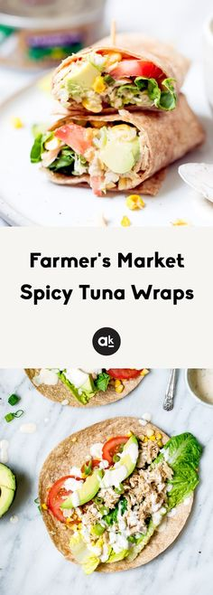 Easy, flavorful tuna wraps drizzled with light chipotle Greek yogurt ranch dressing. They're the perfect lunch and packed with farmer's market veggies. #tuna #healthylunch #farmersmarket #lunchideas #highprotein Greek Yogurt Ranch, Homemade Greek Yogurt, Wrap Recipes, Dinner Recipes, Fish Recipes, Tuna Wrap, Homemade Chipotle, Healthy Summer Recipes, Healthy Foods