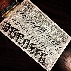 Lettering ideas, chicano lettering, graffiti lettering, color pencil art, t Graffiti Lettering Alphabet, Tattoo Fonts Alphabet, Chicano Lettering, Tattoo Lettering Styles, Script Lettering, Lettering Design, Lettering Ideas, 1 Tattoo, Tattoo Script