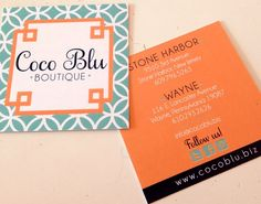 Coco Blu Boutique business cards I Custom by Nico and Lala