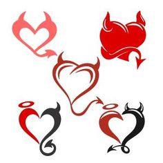 This item is unavailable Tattoos Skull, Body Art Tattoos, Tattoo Drawings, Angel Devil Tattoo, Angel And Devil, Compass Tattoo, Heart Tattoo Designs, Heart Designs, Ange Demon