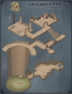 """venatusmaps: """" Gruumbar's Pit, a self-contained, isometric dungeon you can feel free to drop nearly anywhere into your world if you'd like as it's entirely underground. The entrance is that tiny stone structure at the top, measuring roughly 10x10..."""
