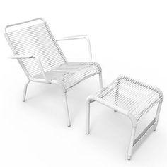 Fermob Saint Tropez Low Arm Chair with Footrest Finish: Cotton White