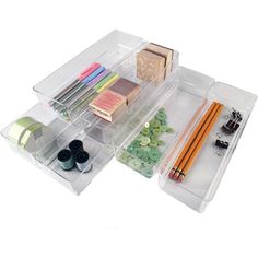 Keep your kitchen or office drawers organized in sleek style with this acrylic tray set, featuring an array of sizes to use space efficiently.