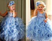 Pale pink satin, organza flower girl dress, cascading vertical ruffles baby, toddler & girl sizes