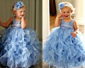 Periwinkle blue flower girls dress, with ruffles, baby, toddlers girls sizes- via etsy