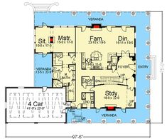 Southern Beauty with Dual-level Wraparound Balconies - floor plan - Main Level Beach House Floor Plans, 3/4 Beds, Southern House Plans, Entry Foyer, Wrap Around, Sitting Area, Balconies, Master Suite, Beautiful Homes