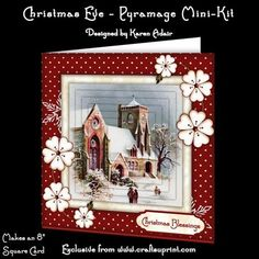 """This two sheet mini-kit will make this pretty 8"""" square Christmas card, in a mix of both traditional and contemporary, and includes 6 layers of pyramage. Six sentiment tags are also included, one left blank for you to personalise if you wish."""