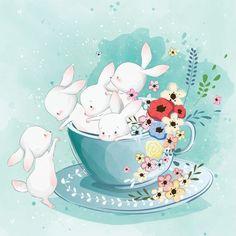 Cute Bunnies im Teecup Stock-Vektorgrafik (Lizenzfrei) 1313072777 Bunny Art, Cute Bunny, Geometric Background, Background Patterns, Vector Background, Watercolor Paper Texture, Flower Watercolor, Neon Backgrounds, Illustrations