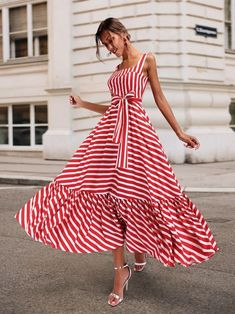 Boho Summer Beach Dress Women Spagetti Strap Red Striped Dress Plus Size Ruffle Long Maxi Dress Xxxl – Mode Outfits Sexy Maxi Dress, Women's Dresses, Dress Skirt, Casual Dresses, Short Dresses, Fashion Dresses, Dress Up, Summer Dresses, Hijab Casual
