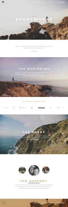 Landing Page Inspiration, love the simple text, but with gardening images in place of travel