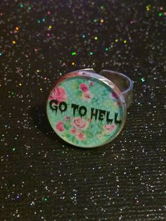 Go To Hell Ring | Gothic Floral Ring | pastel Goth Creepy Cute Soft Grunge Alternative Horror Nu Goth Alt Ring | Sarcastic Rude Insult Ring