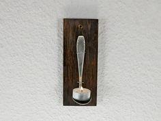 Teelichthalter mit altem Löffel, Holz, Wandschmuck von SchlueterKunstundDesign - Wohnzubehör, Unikate, Treibholzobjekte, Modeschmuck aus Treibholz auf DaWanda.com