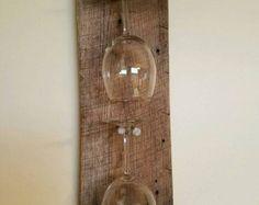 Reclaimed Wood Industrial Wine 8-Glass Rack