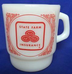 Vintage State Farm Insurance Fire King Mug Milk Glass Coffee Tea Cup Advertising #FireKing