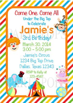 Circus Invitation, Thank You Card,  Circus Birthday,  Party Decoration,  Circus party, Birthday Invitation, Clown, PDF Digital File on Etsy, $15.00