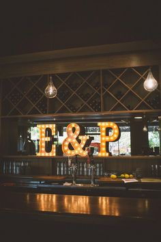 Amazing Wedding Marquee Letter Ideas - This is an awesome idea! Using your initials and that cute & sign for your wedding bar! #wedding #ideas
