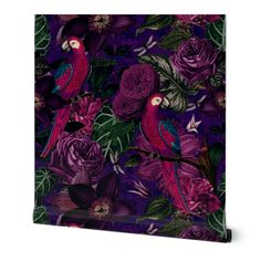 Commercial Grade Wallpaper Swatch - Flower Vintage Floral Nature Purple Animal Dark Traditional Wallpaper by Spoonflower