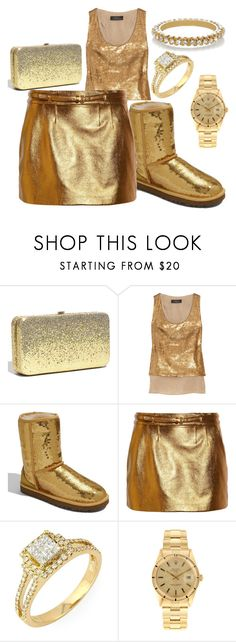 """""""All That Glitters is Gold"""" by sophisticated106 ❤ liked on Polyvore featuring Under One Sky, Robert Rodriguez, UGG Australia, Gucci, Rolex, Isharya, uggs, glitter, sequin tanks and glitter mini skirt"""