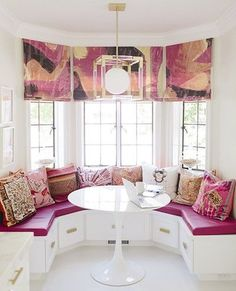 colorful breakfast nook with storage