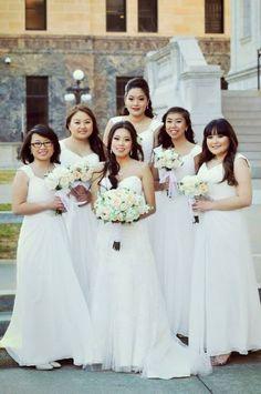2ceb9bd9c3e Stunning in all white Azazie Charlie. Mermaid Bridesmaid Dresses