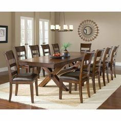 Park Avenue 11 Piece Dining Set by NewAir Appliances. $2499.00. 2 - 12'' leaves - 108L. Belongs to Park Avenue Collection by Hillsdale. Rectangular Table Top Shape. Trestle style dining table. Distressed dark cherry finish. Park Avenue 11-Piece Dining Set Sturdy and stylish A fabulous addition to your home The ample sized trestle style dining table comfortably seats 6-10 The chairs are reminiscent of traditional ladder back style A hint of transitional design in...