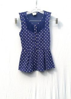 Buy my item on #vinted http://www.vinted.com/womens-clothing/blouses/21120483-blue-white-polka-dot-mesh-peplum-top-xs