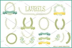 Laurels, Ribbons & Wreaths Vector. Wedding Fonts