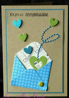 An envelope with dots . a rocker chick . - The 2 Left Hands - An envelope with dots … a flight of hearts … a touch of embroidery … a rocker chick … 2 car - Diy And Crafts, Paper Crafts, Rocker Chick, Stamping Up, Diy Cards, Scrapbook Cards, Homemade Cards, Gift Tags, Origami