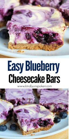 These delicious Blueberry Swirl Cheesecake Bars feature a creamy cheesecake bar swirled with a homemade blueberry lemon sauce and a graham cracker crust. Blueberry Cheesecake Bars, Cheesecake Desserts, Köstliche Desserts, Delicious Desserts, Dessert Recipes, Easy Lemon Cheesecake, Blueberry Bars, Sweets Recipe, Homemade Cheesecake