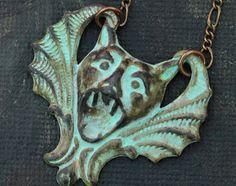 Steampunk jewelry - Gargoyle bat patina winged necklace curio horror victorian gothic vampire verdigris oddity graveyard dead, rockabilly  Etsy