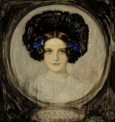 design-is-fine:Franz von Stuck, Portrait of the Artist's daughter Mary, Oil on canvas. William Adolphe Bouguereau, Amazing Drawings, Art Drawings, Hans Thoma, Art Nouveau, Stick Art, Stuck, Through The Looking Glass, Magazine Art
