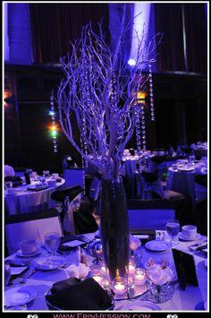 Manzanita and flower centerpieces :  wedding black centerpieces diy manzanita reception silver Centerpiece 3 Cropped