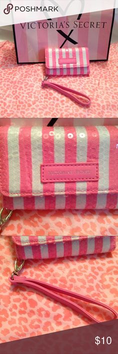 Victoria's Secret Pink stripe clutch iPhone case Victoria's Secret Pink stripe wallet clutch wristlet iPhone 4/4s case Sequin~ 3- card slots. Snaps closed Excellent condition. No flaws noted  Smoke free home Victoria's Secret Accessories Phone Cases