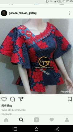 My African dress Short African Dresses, African Lace Styles, African Blouses, Latest African Fashion Dresses, African Print Dresses, African Print Fashion, Africa Fashion, African Tops, African Shirts