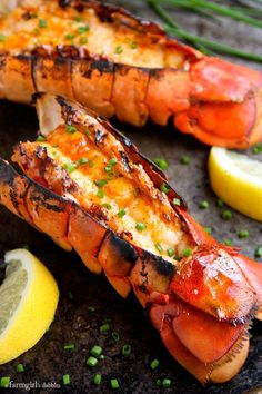 Grilled Lobster Tails with Sriracha Butter. A perfect summer dinner. Add grilled corn, a tomato salad and ice cream sundaes for perfection!