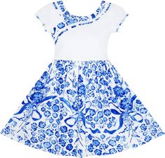 02649306ea073 Girls Dress Blue White Porcelain Floral Printed Pageant Holiday Size 4-10  Years