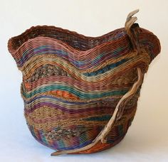 Pat Jeffers |  Earthtones - Large Utility Basket with Sagebush. Hand-dyed and smoked reed and vine rattan, hand-braided fabric, coir, sagebrush