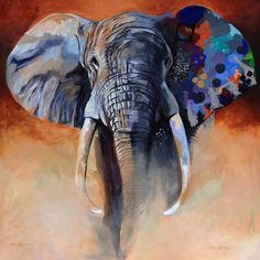 Elephant Artwork, Elephant Canvas, Elephant Love, African Animals, African Art, Oil Painting On Canvas, Canvas Art, Art Thomas, Arte Pop