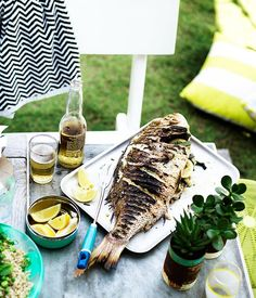 Australian Gourmet Traveller recipe for whole barbecued fish with lemon. Fodmap Recipes, Lemon Recipes, Fish Recipes, Seafood Recipes, Great Recipes, Favorite Recipes, Grilling Recipes, Gourmet Recipes, Cooking Recipes