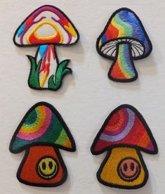 PSYCHEDELIC MUSHROOM PATCHES, 4 designs; SEW-ON/IRON-ON *BN* smiley, hippy patch