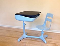 Light Blue and Black desk with chair.