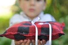 Buffalo plaid ring bearer pillow...adorable for a hunting or mountain wedding!