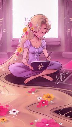 Cute Disney Drawings, Disney Princess Drawings, Disney Princess Pictures, Cute Drawings, All Disney Princesses, Disney Princess Rapunzel, Disney Tangled, Disney Artwork, Disney Fan Art