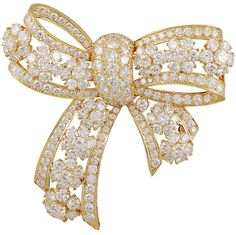 VAN CLEEF & ARPELS Diamond Bow Pin   From a unique collection of vintage brooches at http://www.1stdibs.com/jewelry/brooches/brooches/