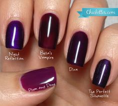 Chickettes.com Gelish Purple Color Comparison I already have Plum Done but totally lusting after the rest, especially Bella's Vampire!
