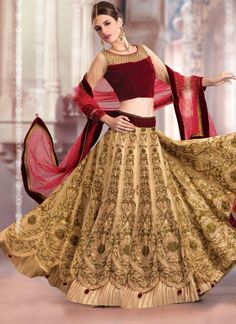 Womens Pretty A Line Lehenga Style in Dark Cream Color With Crystals Work Dupatta.Add grace and charm on your appearance in this wonderful Dark Cream Net Unstitched Lehenga Choli. This attire is nicely made with Stones & Fancy Embellishments work. Lengha Choli Online, Lehenga Choli, Sarees, Blouse Patterns, Blouse Designs, Dress Designs, Indian Dresses, Indian Outfits, Ghaghra Choli