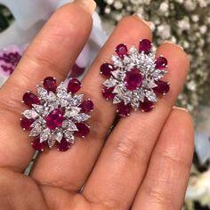Fancy diamonds and rubies ❤ Visit Oriental Gemco Ruby Jewelry, Ruby Earrings, Diamond Earrings, Diamond Bracelets, Ring Bracelet, Gemstone Earrings, Gold Jewelry, Diamond Pendant Necklace, Modern Jewelry