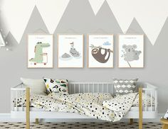 Boy nursery, Neutral nursery prints, Nursery set of 4, Nursery poster, Nursery decor, Kids room decor, Woodland nursery art, Animal, Giclee. ❥ Be right on trend with this unique one-of-a-kind, an original illustration of a nursery Giclee set of 4, featuring 4 adorable animal friends,